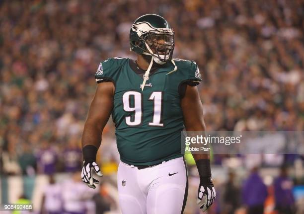 Fletcher Cox of the Philadelphia Eagles reacts after a first quarter touchdown by the Minnesota Vikings in the NFC Championship game at Lincoln...