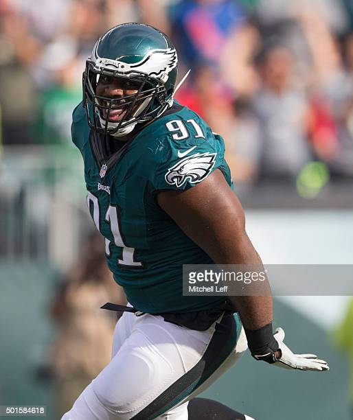 Fletcher Cox of the Philadelphia Eagles reacts after a sack against Tyrod Taylor of the Buffalo Bills on December 13 2015 at the Lincoln Financial...