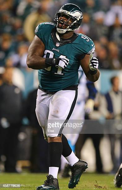 Fletcher Cox of the Philadelphia Eagles reacts after making a play against the Carolina Panthers on November 10 2014 at Lincoln Financial Field in...