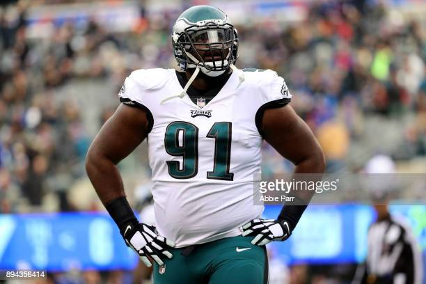 Fletcher Cox of the Philadelphia Eagles reacts against the New York Giants during the first quarter in the game at MetLife Stadium on December 17...