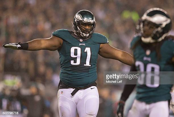 Fletcher Cox of the Philadelphia Eagles reacts in the game against the Washington Redskins on December 26 2015 at Lincoln Financial Field in...