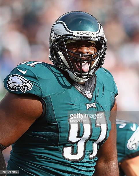 Fletcher Cox of the Philadelphia Eagles reacts to a sack on Tyrod Taylor of the Buffalo Bills during the first quarter at Lincoln Financial Field on...
