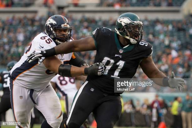 Fletcher Cox of the Philadelphia Eagles rushes the passer against Ronald Leary of the Denver Broncos at Lincoln Financial Field on November 5 2017 in...