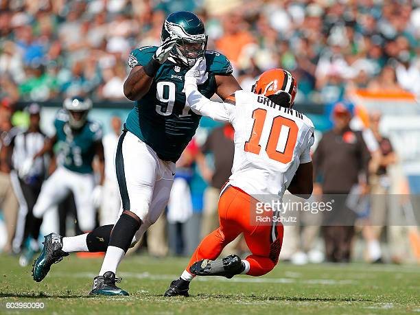 Fletcher Cox of the Philadelphia Eagles sacks quarterback Robert Griffin III of the Cleveland Browns during the third quarter at Lincoln Financial...