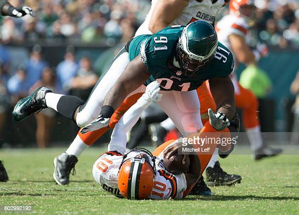 Fletcher Cox of the Philadelphia Eagles sacks Robert Griffin III of the Cleveland Browns in the third quarter at Lincoln Financial Field on September...