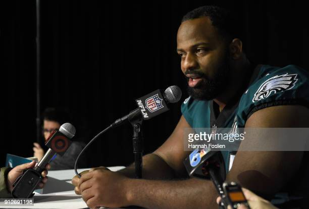 Fletcher Cox of the Philadelphia Eagles speaks to the media during Super Bowl LII media availability on January 31 2018 at Mall of America in...