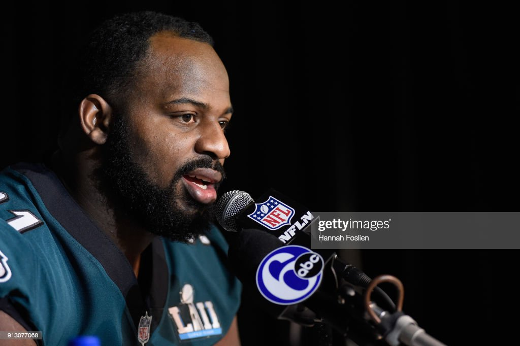 Fletcher Cox #91 of the Philadelphia Eagles speaks to the media during Super Bowl LII media availability on February 1, 2018 at Mall of America in Bloomington, Minnesota. The Philadelphia Eagles will face the New England Patriots in Super Bowl LII on February 4th.