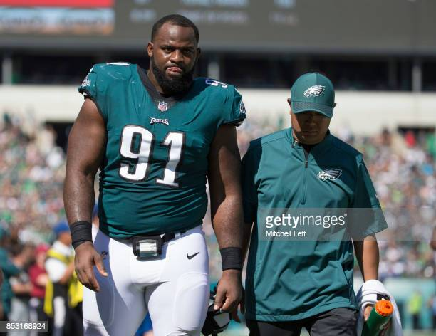 Fletcher Cox of the Philadelphia Eagles walks to the locker room in the second quarter against the New York Giants at Lincoln Financial Field on...