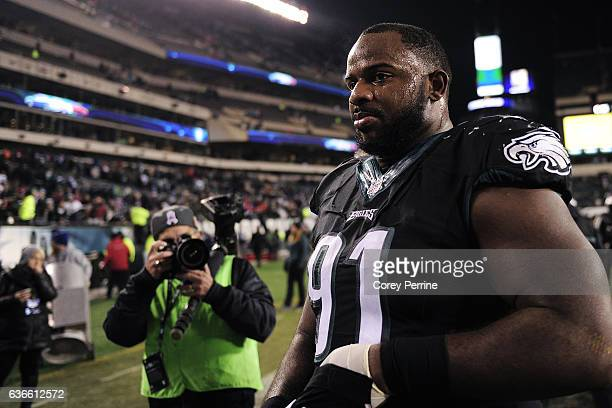 Fletcher Cox of the Philadelphia Eagles walks to the locker room after the game against the New York Giants at Lincoln Financial Field on December 22...
