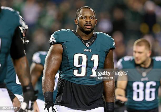 Fletcher Cox of the Philadelphia Eagles warms up prior to the game against the Dallas Cowboys at Lincoln Financial Field on December 14 2014 in...