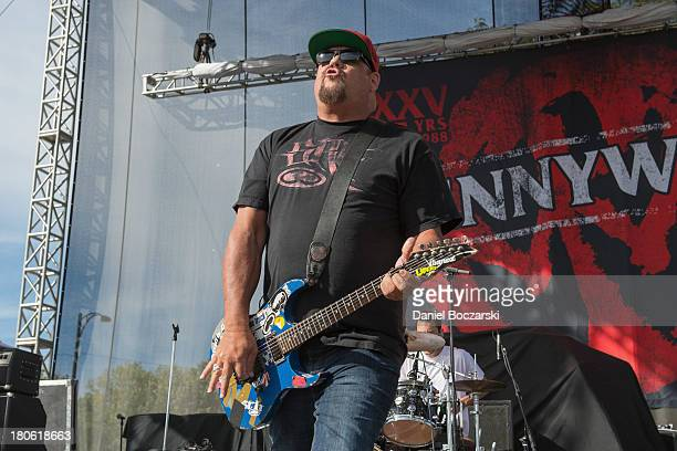 Fletcher Dragge of Pennywise performs on stage on Day 2 of Riot Fest and Carnival 2013 at Humboldt Park on September 14 2013 in Chicago Illinois