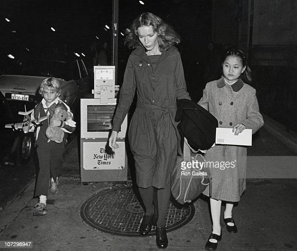 Fletcher Farrow, Mia Farrow and Soon-Yi Previn during Mia Farrow and Children Depart from Her Apartment in New York City - November 12, 1981 at Mia...