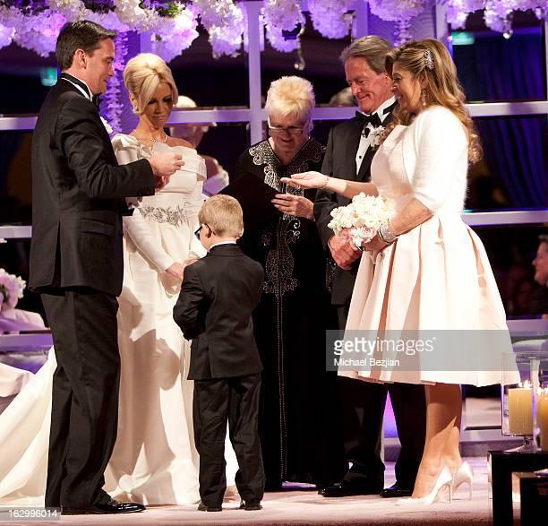 Fletcher Jones III Dalene Kurtis and Cash Kurtis with wedding party attend Fletcher Jones III And Dalene Kurtis Wedding at Beverly Hills Hotel on...