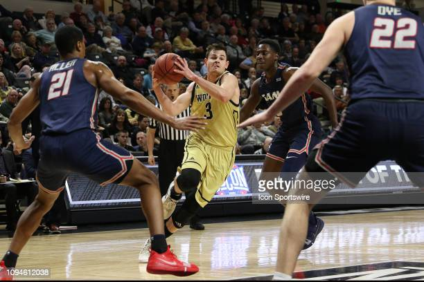Fletcher Magee guard of Wofford during college basketball game between the Samford Bulldogs and the Wofford Terriers on January 24 2019 at Jerry...