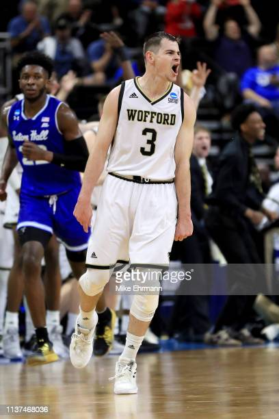 Fletcher Magee of the Wofford Terriers reacts in the second half against the Seton Hall Pirates during the first round of the 2019 NCAA Men's...