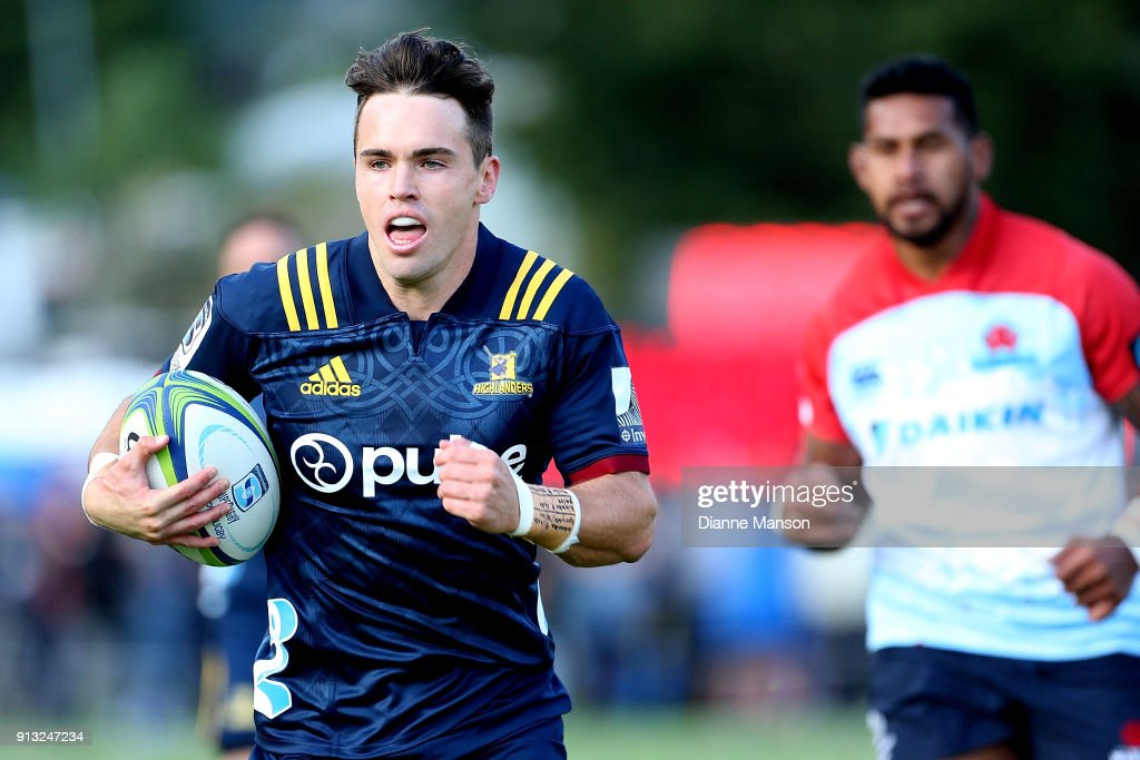 Fletcher Smith of the Highlanders makes a break during the Super Rugby pre-season match between the Highlanders and the Waratahs on February 2, 2018 in Queenstown, New Zealand.
