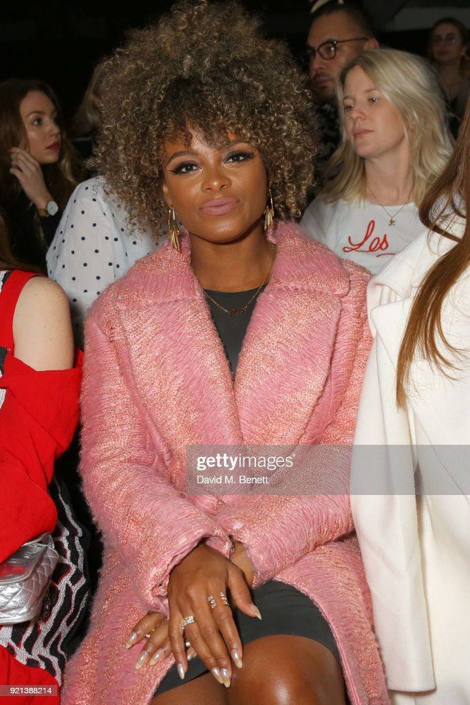Fleur attends the Teatum Jones show during London Fashion Week February 2018 at BFC Show Space on February 20, 2018 in London, England.