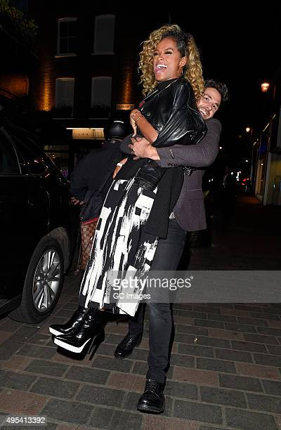 Fleur East and Ben Haenow arrive at Cirque le Soir night club in Central London on November 2 2015 in London England