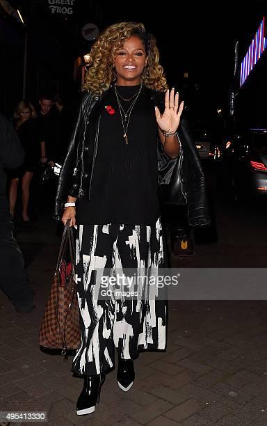Fleur East arrives at Cirque le Soir night club in Central London on November 2 2015 in London England