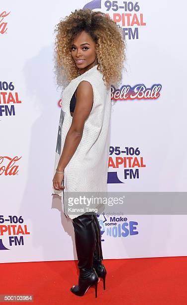 Fleur East attends day one of the Capital FM Jingle Bell Ball at The O2 Arena on December 5 2015 in London England