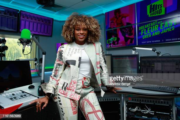 Fleur East attends the launch of the new Hits Radio breakfast show with Fleur East Greg Burns and James Barr at Hits Radio on July 12 2019 in...