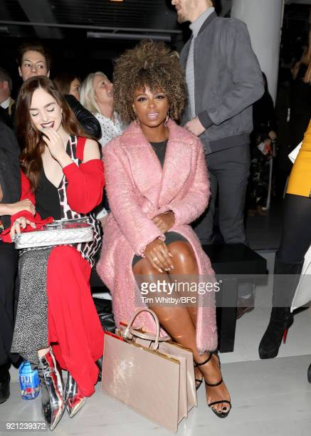 Fleur East attends the Teatum Jones show during London Fashion Week February 2018 at BFC Show Space on February 20, 2018 in London, England.