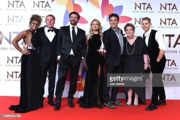 Fleur East Harry Redknapp Nick Knowles Emily Atack John Barrowman Anne Hegerty James McVey and Scarlett Moffatt pose with The Bruce Forsyth...