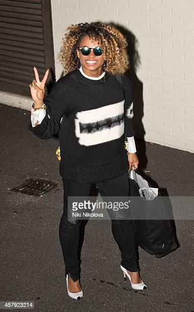 Fleur East is seen leaving 'The X Factor' held at Fountain Studios Wembley on October 26 2014 in London England