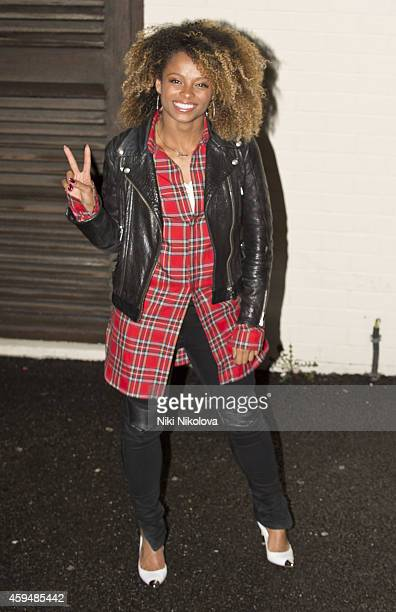 Fleur East is seen leaving 'The X Factor' held at Fountain Studios Wembley on November 23 2014 in London England