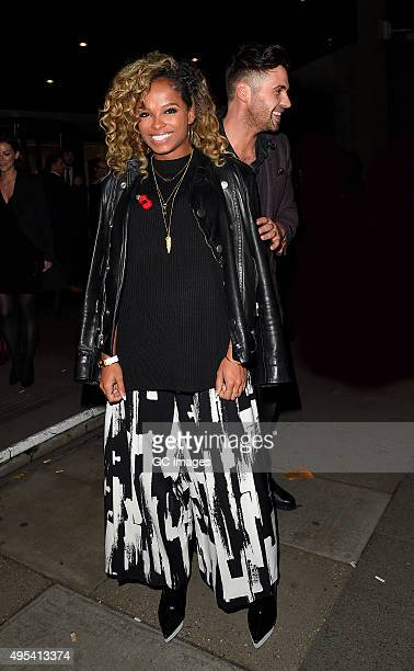 Fleur East leaves Grosvenor Hotel after the Music Industry Trusts Awards on November 2 2015 in London England