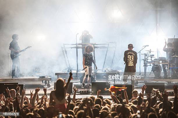 Fleur East MC Messy and DJ Fresh perform on stage during a FreshLive set at Shakedown Festival 2013 at Stamner Park on September 28 2013 in Brighton...