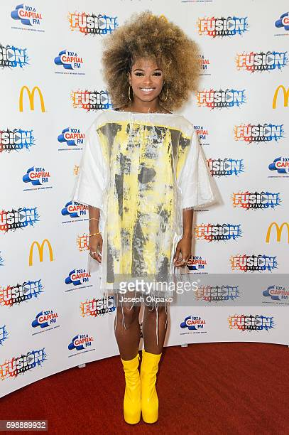 Fleur East poses backstage at Fusion Festival on Otterspool Promenade on September 3 2016 in Liverpool England