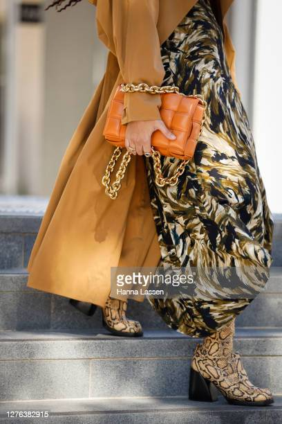 Fleur Egan wearing Proenza Schouler dress Bottega Veneta clay chain Cassette bag and trench coat Chloe boots Dior skinny sunglasses and Temple of the...