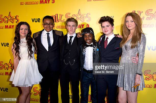 Fleur Houdijk Gamal Toseafa Dominic Herman Day Akai Theo Stevenson and Amelia Clarkson attends the UK Premiere of 'All Stars' at Vue West End on...