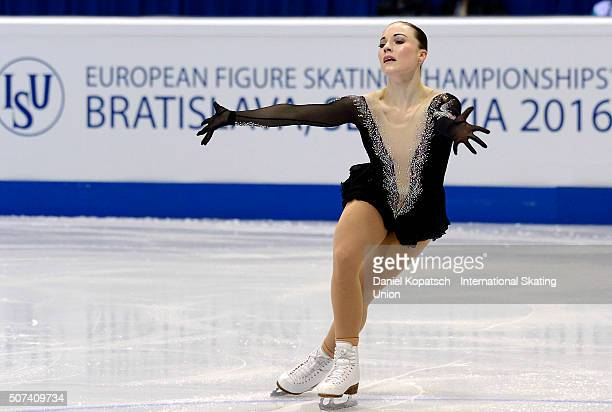 Fleur Maxwell of Luxembourg performs during the Ladies Free Skating during day three of the ISU European Figure Skating Championships 2016 on January...