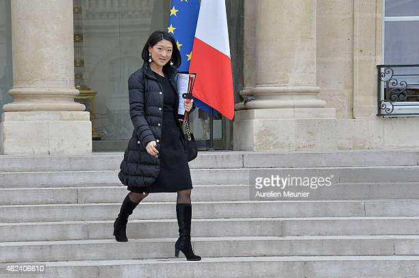 Fleur Pellerin French Culture Minister leaves the Elysee Palace after a weekly cabinet meeting on January 28 2015 in Paris France