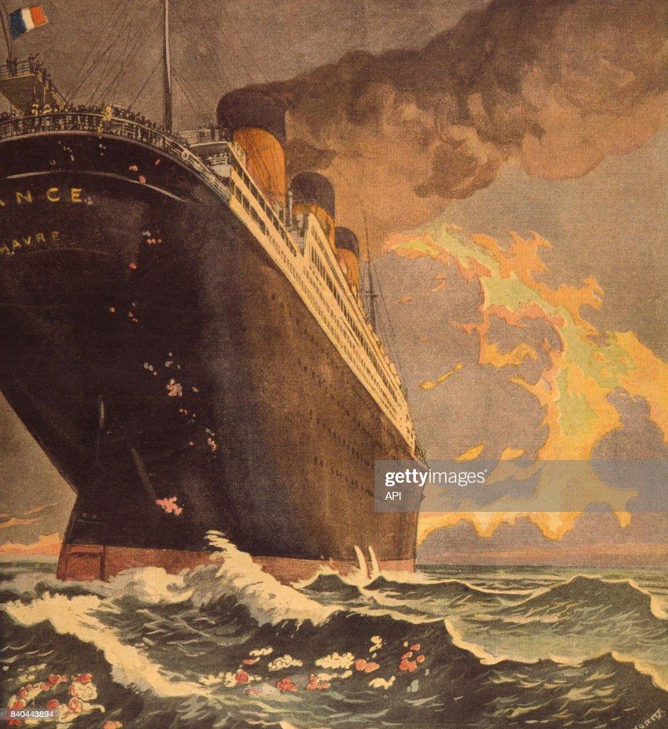 Le paquebot 'France' sur le lieu du naufrage du Titanic : Photo d'actualité