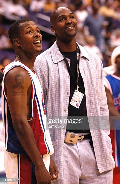 Flex Alexander and Bryon Russell during 18th Annual A Midsummer Night's Magic Weekend AllStar Basketball Game at Staples Center in Los Angeles...