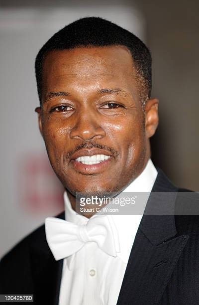 Flex Alexander arrives at the FitFlop Shooting Stars Benefit closing ball at the Royal Courts of Justice The event was hosted by Samuel L Jackson to...