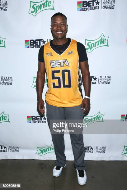 Flex Alexander poses backstage at the Celebrity Basketball Game presented by Sprite and State Farm during the 2017 BET Experience at Staples Center...