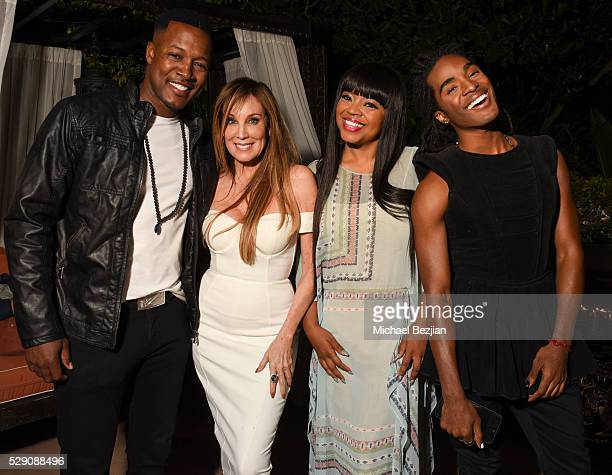Flex Alexander producer Cindy Cowan Shanice and Ruba Wilson pose for portrait at Cindy Cowan's Birthday Party on May 7 2016 in Los Angeles California