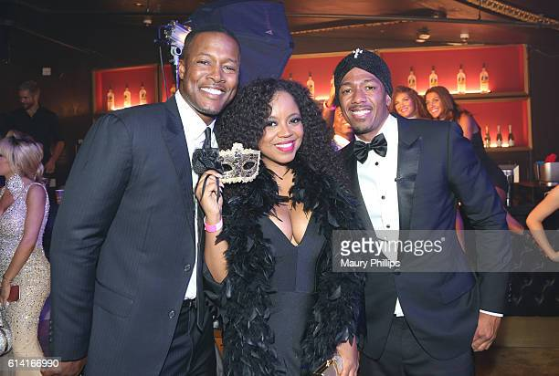 Flex Alexander Shanice Wilson and Nick Cannon attend The Grown And Sexy Halloween Masquerade Ball on October 9 2016 in Los Angeles California