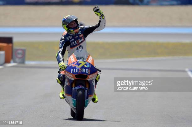 Flexbox HP 40's Italian rider Lorenzo Baldassarri celebrates after winning the Moto2 race of the Spanish Grand Prix at the Jerez - Angel Nieto...
