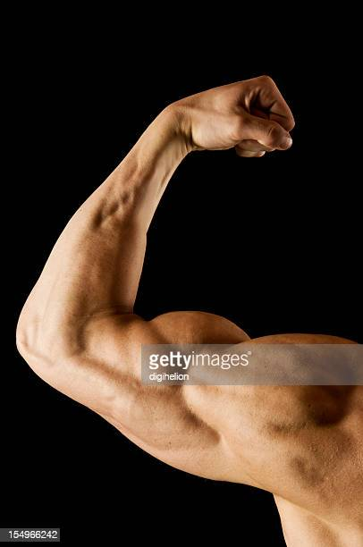 Flexed man's biceps on black
