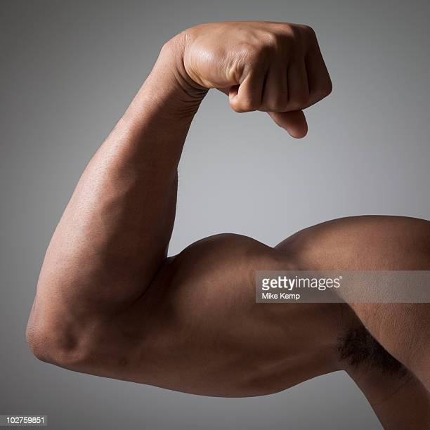 flexed muscular arm - flexing muscles stock pictures, royalty-free photos & images