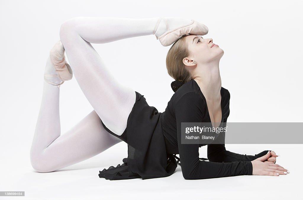 Ballet. Image Of Flexible Dancer Doing Splits Stock Photo