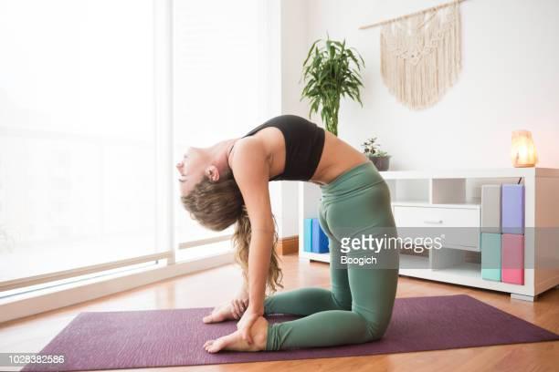 flexible tausendjährigen frau praktizieren yoga rückbeugen in kamel-pose miami usa - camel active stock-fotos und bilder