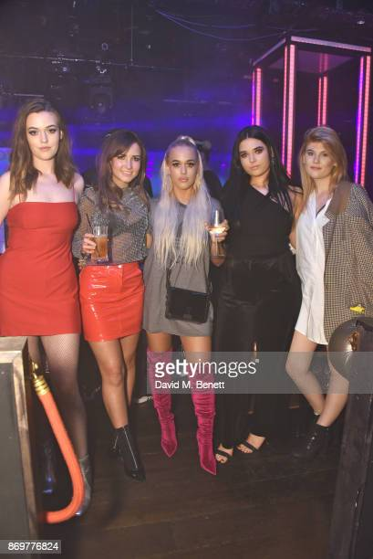 Flicit Tomlinson Lottie Tomlinson and guests arrive at Lottie Tomlinson's 'Rainbow Roots' book launch at Tape London on November 2 2017 in London...