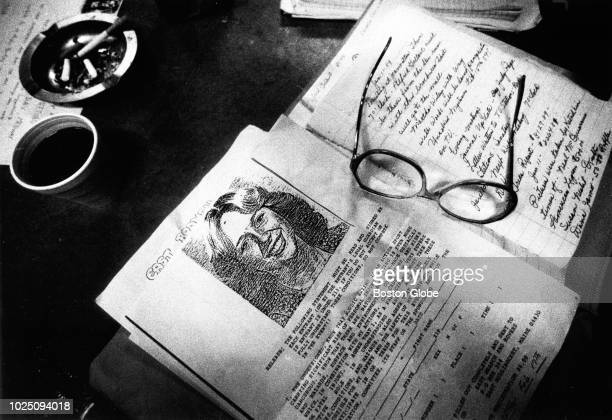 Fliers and notes from a meeting for Justice for Joyce sit on a table in Medway Maine on Jan 18 1989 Joyce McLain disappeared while jogging near her...
