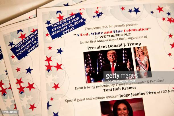 Fliers for the party that Toni Holt Kramer a MaraLago member who calls herself the leader of the Trumpettes will be hosting with her fellow...